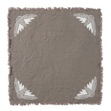 Cricket Radio - Alexandria Lotus Napkin, Set of 2, Stone/White - Whether you fold them, fan them or turn them into fancy flowers, these napkins will add style and color to your table. Made of pre-shrunk linen, each set of 19-inch-square napkins features printed lotus flowers in the corners and a fringed border. And they come in several colors so you can mix or match to your heart's content.