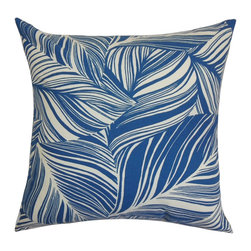 """The Pillow Collection - Lehel Floral Pillow Blue 18"""" x 18"""" - Use this accent pillow to a finishing touch to your living space. This accent pillow will make your interiors look modern and fresh with its unique design. Adorned with blue and white hued leaf pattern, this decor pillow is ideal for home and office use. You can decorate this 18"""" pillow on any furniture piece you have in living room or bedroom. This two-toned pillow is easy to coordinate with solids and other patterns. Made from 100% soft and durable cotton material. Hidden zipper closure for easy cover removal.  Knife edge finish on all four sides.  Reversible pillow with the same fabric on the back side.  Spot cleaning suggested."""
