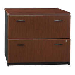 """BBF - BBF Series A 36W 2-Drawer Lateral File - BBF - Filing Cabinets - WC94454A - Add storage and workspace with the BBF Series A 36""""W 2-Drawer Lateral File. Full-extension ball bearing slides allow complete drawer access and each file drawer accommodates letter legal and A4 size files. An anti-tip mechanism prevents both drawers from opening at once. The top shelf matches desk work surface height to increase the work surface of any Series A desk in side-by-side configuration and with an exterior case matching Series A desking and Hutches this piece provides consistency in your office. Attractive and practical the 2-Drawer Lateral File provides the extra you need to complete your office. Solid construction meets ANSI/BIFMA test standards in place at time of manufacture; this product is American Made and is backed by BBF 10-Year Warranty."""