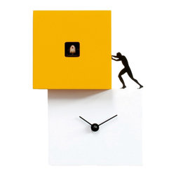 Progetti - Strong Cucu 2270 White/Yellow Wall Clock - Wall or table cuckoo clock composed of two or three bodies in different colors inspired by the labor of man, a contemporary object that is simple but significant, strong and well defined. A cuckoo clock that aims to inspire us, reminding us that time passes and that we must continue moving, finding the strength and energy to do what we must. Elements with different sizes and heights, positioned according to a staggered framework, give life to Strong Cuckoo which is made of painted wood. Battery quartz movement.