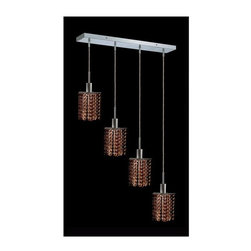 Elegant Lighting - Mini Topaz Crystal Pendant w 4 Lights in Chrome (Royal Cut) - Choose Crystal: Royal Cut. 3 ft. Chain/Wire Included. Bulbs not included. Crystal Color: Topaz (Brown). Chrome finish. Number of Bulbs: 4. Bulb Type: GU10. Bulb Wattage: 55. Max Wattage: 220. Voltage: 110V-125V. Assembly required. Meets UL & ULC Standards: Yes. 26 in. D x 8 to 48 in. H (12lbs.)Description of Crystal trim:Royal Cut, a combination of high quality lead free machine cut and machine polished crystals & full-lead machined-cut crystals..SPECTRA Swarovski, this breed of crystal offers maximum optical quality and radiance. Machined cut and polished, a Swarovski technician¢s strict production demands are applied to this lead free, high quality crystal.Strass Swarovski is an exercise in technical perfection, Swarovski ELEMENTS crystal meets all standards of perfection. It is original, flawless and brilliant, possessing lead oxide in excess of 39%. Made in Austria, each facet is perfectly cut and polished by machine to maintain optical purity and consistency. An invisible coating is applied at the end of the process to make the crystal easier to clean. While available in clear it can be specially ordered in a variety of colors.Not all trims are available on all models.