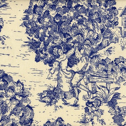 Tailored Valance Toile Indigo Blue
