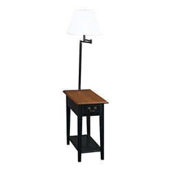 "Lamps Plus - Transitional Leick Swing Arm Floor Lamp with Wood End Table - Leick Furniture Oak 1-Drawer Chairside Table Lamp Solid ash wood construction. Hand-applied medium oak and black finish. Ecru bell shade. One storage drawer. Single bottom shelf. Built-in swing arm style lamp. Slate black finish drawer pulls. 57"" high. 12"" wide. 23 1/2"" deep.  Solid ash wood construction.  Hand-applied medium oak and black finish.  Ecru bell shade.  One storage drawer.  Single bottom shelf.  Built-in swing arm style lamp.  Slate black finish drawer pulls.  Takes one 60 watt bulb (not included).  On/off rotary switch.  57"" high.   12"" wide.   23 1/2"" deep."