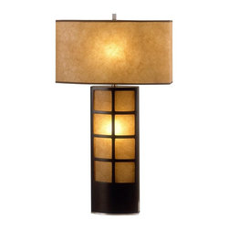 Nova - Ventana Table Lamp - UL Certified. 6 foot Black cord. 7W night light bulb included. Dark brown wood, brushed nickel accents. Unique, robust shade and screen material combines with light to give off a soft, warm glow. Modern, contemporary. Shade Material: Brown/Poublan. Shade Dimensions: 8 x 17 - 8 x 17 x 10V. Switch Type: 4-way switch. 1 Year Limited Manufacturer Warranty. 17 in. W x 31 in. H, 5.94 lbs