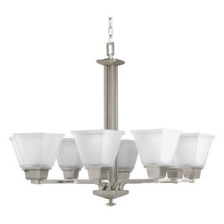 Progress Lighting - Progress Lighting P4004-09 8-Light Chandelier With Etched Glass - Eight-light chandelier with clean linear forms, twin arching arms and square etched glass. Creates a modern interpretation of two blended styles: Craftsman and Mission.