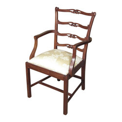 MBW Furniture - Solid Mahogany Golden Floral Ladder Back Occasional Arm Chair - This is a beautiful solid mahogany ladder back occasional arm chair. It features a beautiful ladder back richly adorned with scroll carvings and pierced designs and it has traditional legs with an H stretcher. The removable seat is very comfortable and it has a shimmering golden fabric with beautiful floral designs. This chair is a showroom model and may have some minor imperfections but as shown it is overall in very good condition. It is shipped assembled.