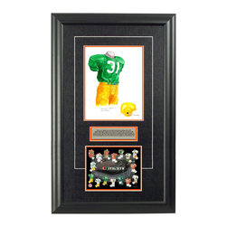 """Heritage Sports Art - Original art of the NCAA 1957 Miami Hurricanes uniform - This beautifully framed NCAA football piece features an original piece of watercolor artwork glass-framed in an attractive two inch wide black resin frame with a double mat. The outer dimensions of the framed piece are approximately 17"""" wide x 28"""" high, although the exact size will vary according to the size of the original piece of art. At the core of the framed piece is the actual piece of original artwork as painted by the artist on textured 100% rag, water-marked watercolor paper. In many cases the original artwork has handwritten notes in pencil from the artist. Simply put, this is beautiful, one-of-a-kind artwork. The outer mat is a rich textured black acid-free mat with a decorative inset white v-groove, while the inner mat is a complimentary colored acid-free mat reflecting one of the team's primary colors. The image of this framed piece shows the mat color that we use (Orange). Beneath the artwork is a silver plate with black text describing the original artwork. The text for this piece will read: This is an original, one-of-a-kind watercolor painting of the 1957 Miami Hurricanes uniform worn by #31 John Varone and was used in the creation of this Miami Hurricanes uniform evolution print and thousands of Miami products that have been sold across North America. This original piece of art was painted by artist Nola McConnan for Maple Leaf Productions Ltd. Beneath the silver plate is a 6.5"""" x 7"""" reproduction of a uniform evolution print that celebrates the history of the team. The print beautifully illustrates the chronological evolution of the team's uniform and shows you how the original art was used in the creation of this print. If you look closely, you will see that the print features the actual artwork being offered for sale. The 6.5"""" x 7"""" print is shown above. The piece is framed with an extremely high quality framing glass. We have used this glass style for many years with e"""