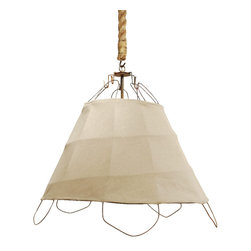 Tobacco Basket Light - Add textural and sculptural interest overhead with this striking light fixture made from fabric stretched over a tobacco basket. The chunky rope around the chain is the perfect finishing touch.