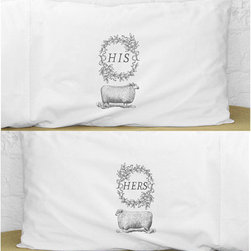His & Hers Sheep Pillowcase Set, Standard Size by Kinship Goods - I rarely go for truly graphic textiles, but these sweet pillowcases from Kinship Goods are too cute to resist.