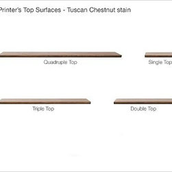 "Printer's Triple Top, Tuscan Chestnut stain - In our online video, we show you - step by step - how to create a system that maximizes your space and meets your every need. Choose a base pedestal unit in one of six styles. Each pedestal comes unfinished on top so you can make a configuration to fit your space. Depending on the setup you chose, select the appropriate top - single, double, triple or quadruple. Features artisan-crafted details such as dovetail joinery, precision bluff-cut drawers and smooth glides. The Tuscan chestnut finish is hand applied in layers, with distressing and burnished edges. Fitted with antique brass cup pulls. The bookcase pedestal, cabinet pedestal and glass-door pedestals have two adjustable shelves. The file cabinet pedestal has three bluff-cut drawers; bottom drawer is fitted with rails for both letter- and legal-sized hanging folders. The cabinet pedestal has a bluff-cut door and two removable shelves. Single 2-Drawer File Cabinet features two drawers that hold standard or lateral files. Double 2-Drawer Lateral File Cabinet features two wide drawers that hold standard or lateral files. The glass-door pedestal is available in single or double widths. The single glass-door pedestal has a door that can be configured to open to the left or right, and is sized to fit components up to 14"" wide, making it ideal for storing baskets of DVDs, video game consoles that stand vertically, games or other related items. The glass door double pedestal fits media components up to 30"" wide. Glass doors of the glass-door pedestals permit the use of remote controls while protecting your components. Select pieces are detailed with cord cutouts and antique brass cup pulls. Each pedestal comes unfinished on top so you can make a configuration to fit your space. Pair with a Printer's Top or with another Printer's component (each sold separately). Watch a video about the versatility of our {{link path='/pages/popups/printers_video_popup.html?cm_sp=Video_PIP-_-PBQUALITY-_-PRINTERS' class='popup' width='450' height='300'}}Printer's Collection{{/link}}. View our {{link path='pages/popups/fb-home-office.html' class='popup' width='480' height='300'}}Furniture Brochure{{/link}}."