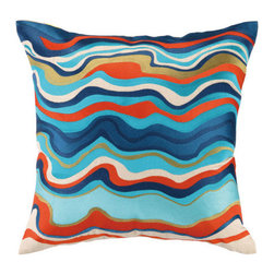"""Trina Turk Waterflow Embroidered Pillow, Blue - This highly-crafted embroidered throw pillow features elegant colors and patterns and is sewn on sophisticated natural linen. The perfect accent for your bedroom, living room, or any room that needs a little flair! It measures 20"""" X 20""""."""