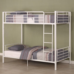 """Home Loft Concept - Sunrise Twin over Twin Bunk Bed with Built-In Ladder - Elegance and function combine to give this contemporary bunk bed a striking appearance. The design gives a stylish modern look crafted with durable steel framing. Designed with safety in mind, the bed includes full length guardrails and a sturdy integrated ladder. Great for any space-saving design needs. Unlike other Twin bunk bed, this bed also converts into 2 Twin beds. Features: -Does not include mattresses or bedding.-Stylish contemporary design.-Conforms to the latest consumer product safety standards.-Ideal space-saving design.-Maximum recommended upper mattress thickness of 9"""".-Sturdy construction.-Attractive lead free powder coated finish.-Distressed: No.-Hardware Finish: Metal.-Powder Coated Finish: Yes.-Gloss Finish: Yes.-Frame Material: Steel.-Number of Items Included: Bed frame.-Hardware Material: Metal.-Stain Resistant: No.-Scratch Resistant: No.-Configuration: Twin over twin.-Mattress Included: No.-Boxspring Required Top Bed: No.-Converts to Two Beds: Yes.-Slat System Included: Yes.-Guardrail(s) Included: Yes.-Trundle Bed Included: No.-Ladder Included: Yes -Ladder Location: Front..-Casters: No.-Slide: No.-Headboard Storage: No.-Also Suitable for Adults: Yes.-Weight Capacity Top Bed: 250 lbs.-Weight Capacity Bottom Bed or Futon: 250 lbs.-Swatch Available: No.-Commercial Use: No.-Product Care: Wipe with dry / wet cloth.Specifications: -Easily and safely separates into 2 Twin beds.-ISTA 3A Certified: Yes.Dimensions: -Overall Product Weight: 100 lbs.-Overall Height - Top to Bottom: 68"""".-Overall Width - Side to Side: 42"""".-Overall Depth - Front to Back: 80"""".-Distance Between Top and Bottom Bunk: 43.5"""".-Bottom of Lower Bunk to Floor: 8"""".-Headboard Height Top to Bottom: 15"""".-Footboard Height Top to Bottom: 15"""".-Mattress: No.-Built In Desk: No.Assembly: -Assembly Required: Yes.-Tools Needed: Tools provided.-Additional Parts Required: No.Warranty: -Product Warranty: 30 Day defect."""