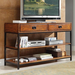 """Home Styles - Modern Craftsman 54"""" TV Stand - Reminiscent of the American Craftsman Era with understated style and simplicity, the Modern Craftsman Entertainment Collection marries a traditional, multi-step distressed Oak finish on poplar solids and oak veneers with new age, brown metal accents. With two storage drawers and two fixed shelves, the Modern Craftsman TV Stand can function as a media console or as a larger console table. Features: -Modern Craftsman.-Simple and traditional style.-Two storage drawers and two fixed shelves.-Solid and oak veneers construction.-Distressed oak finish.-Brown metal accents.-Recommended TV Type: Up to a 52"""" flat panel TV.-Finish: Distressed oak.-Powder Coated Finish: No.-Gloss Finish: No.-Material: Poplar solids and oak veneers.-Distressed: No.-Exterior Shelves: Yes -Number of Exterior Shelves: 2.-Adjustable Exterior Shelves: No..-Drawers: Yes -Number of Drawers: 2.-Drawer Interior Finish: Same as exterior.-Drawer Glide Material: Metal.-Drawer Glide Extension: 0.75"""".-Safety Stop: Yes.-Ball Bearing Glides: No.-Drawer Dividers: No.-Drawer Handle Design: Finger pulls..-Cabinets: No.-Scratch Resistant (Scratch Resistant) : No.-Hardware Finish: Brown metal hardware.-Casters: No.-Accommodates Fireplace: No.-Fireplace Included: No.-Lighted: No.-Media Player Storage: Yes.-Media Storage: Yes.-Cable Management: Cable management opening.-Remote Control Included: No.-Batteries Required: No.-Swatch Available: No.-Commercial Use: No.-Collection: Modern Craftsman.-Eco-Friendly: No.-Recycled Content: No.-Lift Mechanism: No.-Expandable: No.-TV Swivel Base: No.-Integrated Flat Screen Mount: No.-Hardware Material: Brown metal hardware.-Non-Toxic: Yes.-Product Care: Clean with damp cloth.Specifications: -ISTA 3A Certified: Yes.-CARB Certified: Yes.-FSC Certified: Yes.Dimensions: -Overall Height - Top to Bottom: 31.5"""".-Overall Width - Side to Side: 54"""".-Overall Depth - Front to Back: 18"""".-Drawer: -Drawer Interior Height - Top to Bottom: 3"""".-Drawer In"""