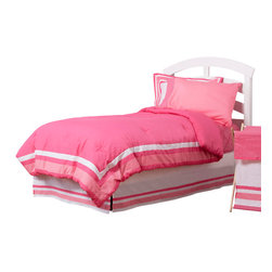 Simplicity Hot Pink - Twin Set (3pc no sheets) - Let the simple side of Simplicity Hot Pink bring out the sweetness in your room!  Simplicity Hot Pink is nothing too sweet for any personality!  Beautiful hues of pink with white throughout make the most of this set.  This 3pc set includes twin comforter, twin bed skirt, 1 standard flanged pillow sham. Comforter comes a beautifully framed design in shades of pink, light pink and white.  Opposite side is in solid darker pink.  All in cotton print fabric.  Bed skirt designed with lines of white and both color pinks in cotton print fabric. Standard flanged sham designed to replicate comforter in design.  All in cotton print fabric.  SAVE WHEN YOU BUY AS A SET!