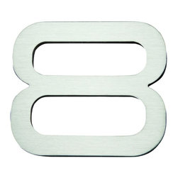 Atlas - Paragon House Number 8 - PGN8-SS - Manufacturer SKU: PGN8-SS. Stainless steel surface. Weather resistant. Peel-n-stick recycled backing. Lacquered for durability. Dense polyfiber backing. Projection: 0.75 in.. Made from metal. 4 in. L x 4.75 in. W