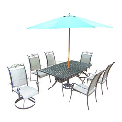 Oakland Living - 9-Pc Outdoor Dinning Set - Includes boat shaped table, two swivel rockers, four stackable chairs, 9 ft. umbrella with stand and metal hardware. Traditional lattice pattern and scroll work. Hardened powder coat. Handcast. Fade, chip and crack resistant. Warranty: One year limited. Made from cast aluminum and sling. Black color. Minimal assembly required. Table: 70 in. W x 38 in. D x 29 in. H (75 lbs.). Chair: 24 in. W x 30.5 in. D x 40 in. H (12 lbs.). Swivel Chair: 24 in. W x 30.5 in. D x 40 in. H (16 lbs.)The Oakland cascade collection combines southern style and modern designs giving you a rich addition to any outdoor setting. We recommend that the products be covered to protect them when not in use. To preserve the beauty and finish of the metal products, we recommend applying an epoxy clear coat once a year. However, because of the nature of iron it will eventually rust when exposed to the elements.