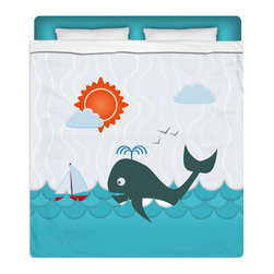 """Eco Friendly Queen Size """"Whale Watching"""" Kids Sheet Set - Our """"Whale Watching"""" Queen Size Sheet Set from our Surfer Seaside Bed and Bath Collection is made of a lightweight microfiber for the ultimate experience in softness~ extremely breathable!"""