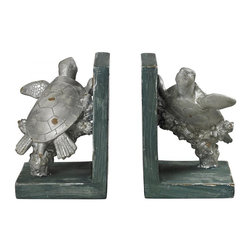 Sterling Industries - Swimming Turtle Bookends - Swimming Turtle Bookends