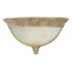 "Progress - Progress-P7210-42-Savannah - Two Light Flush Mount - General - Antique alabaster glass: 10-7/16"" Dia.  x4-1/32"" ht. , 5-5/32"" D - Cast resin trim - Pineapple pattern details - Twisted rope accents - Hand painted finishes - Wall mounted - Companion fixtures: Chandeliers, Closeto-Ceiling, Hall & Foyer, Pendant, Bathand VanityMounting - Wall mount - Covers outlet box - Mouting strap for outlet box includedElectrical - Medium based porcelain socket - Pre-wiredSeabrook Finish with Antique Alabaster Glass  Lamp Quantity: 1  Lamp Type: Medium Base  Wattage: 100  UL Certified  Material: Resin"