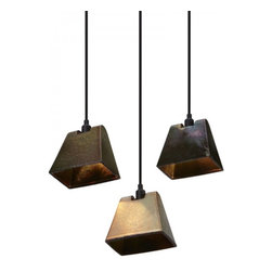 Industrial Copper Shade Pendant Lighting Wedge - The iridescent sheen is created by firing the stoneware shades at 1200°C using a top-secret glaze containing minerals and precious metals.The end result is a striking color change effect reminiscent of peacock feathers or oil slicks on water.The shade reflects and refracts an extraordinary spectrum of colors both internally and when lit from outside.