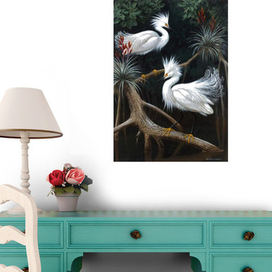 Wallmonkeys Wall Decals - Fine Art Murals Snowy Egrets Display Their Courtship Plumage in a Mangrove Swamp - Easy to apply - simply peel and stick!