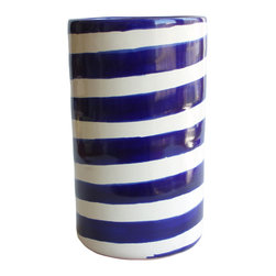 Blue Striped Wine Bottle Holder - Chill out with this smart and stylish idea. The hand-crafted ceramic piece, imported from Mexico, keeps your wine at the ideal temperature and adds fiesta flair to your table. It comes in handy as a vase or utensil holder, too!