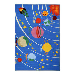 "None - Kid's Educational Galaxy Planets and Stars Blue Non-skid Area Rug (4'3"" x 6'1"") - Add a fun,functional touch to any kid's room with this colorful,educational area rug. Boasting bright colors with a planets and stars theme,this exciting rug is complete with a non-skid rubber backing to alleviate the need for a rug pad."