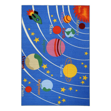 """None - Kid's Educational Galaxy Planets and Stars Blue Non-skid Area Rug (4'3"""" x 6'1"""") - Add a fun,functional touch to any kid's room with this colorful,educational area rug. Boasting bright colors with a planets and stars theme,this exciting rug is complete with a non-skid rubber backing to alleviate the need for a rug pad."""