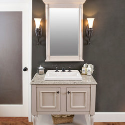 The Elegant Bath Collection Featuring Larissa from our Furniture Suite - The Elegant Bath Collection Featuring Larissa from our Furniture Suites shown here in Melrose Maple Inset finished in our Pebble Finish Accented with the SeaSide Finish Technique.