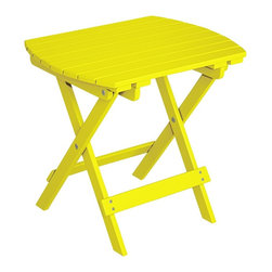 """Lamps Plus - Coastal Monterey Sunny Yellow Outdoor Wood Side Table - Monterey Sunny Yellow Outdoor Wood Side Table. Wood slat design. Sunny yellow finish. Acacia wood construction. Folds up for easy storage. 20"""" wide. 18"""" high. 14"""" deep.  Wood slat design.   Sunny yellow finish.   Acacia wood construction.  Folds up for easy storage.   20"""" wide.   18"""" high.   14"""" deep."""