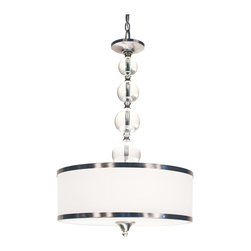 Three Light Brushed Nickel White Glass Drum Shade Pendant - For a cutting edge modern fixture, look no further than this pendant. A milk white shade is complimented with brushed nickel bands, surrounding the centerpiece of cascading crystal spheres. This pendant is sure to be great addition to any contemporary space.