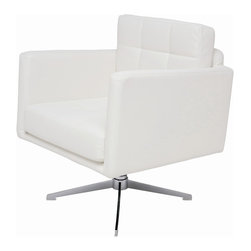 "Nuevo Living - Maxwell Modern Lounge Chair by Nuevo Living, White - Deep Comfort. The Maxwell Lounge Chair offers a thick, comfortable CFS foam cushioning wrapped in luxurious, soft Naugahyde upholstery. Available in black, white and grey, this chair sits on a chromed steel base that swivels. A mid-modern aesthetic that's sure to please, this chair measures 32"" high, 36.5"" wide and 27.75"" deep. Its seat is 17.75"" high. Weighing 110 pounds, this piece is delivered to you by freight carrier."