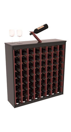 Wine Racks America - Two Tone 64 Bottle Deluxe Wine Rack in Pine, Black and Cherry Stain + Satin - Styled to appear as wine rack furniture, this wooden wine rack will match existing decor while storing 64 bottles of wine. Designed to look like a freestanding wine cabinet, the solid top and sides promote the cool and dark storage area necessary for aging wine properly. Your satisfaction and our racks are guaranteed. All Two-Tone racks include a professional grade eco-friendly satin finish and come with a free matching magic bottle balancer.