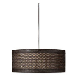 Uttermost - Uttermost New Orleans 3 Lt Hanging Shade in Silken Warm Beige - 3 Lt Hanging Shade in Silken Warm Beige belongs to New Orleans Collection by Uttermost Metal filigree with detailed banding finished in a semi matte black with rust antiquing holds the separate interior shade of silken warm beige fabric. Frosted glass diffuser included. Hanging Shade (1)