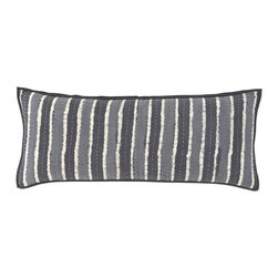 """Pine Cone Hill - PCH Resist Stripe Gray Decorative Pillow - Inspired by an artistic block print, the Resist Stripe throw pillow lends a touch of global glamour. This decorative accent boasts the chic yet casual style in white, ash gray and charcoal. 35""""W x 15""""H; 100% cotton; Quilted; Charcoal gray cording; Feather pillow insert included; Designed by Pine Cone Hill, an Annie Selke company"""