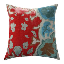 "Adam & Viktoria - Adam & Viktoria Ombre Tribe Blue and Red Pillow - Alive with vibrant color and stroked with character, the bold Ombre Tribal pillow sparks a pulse in contemporary decor. Graphic imagery and velvet texture mark this urban design with the artistic flair of Adam and Viktoria. 18.5"" x 18.5""; Linen with embroidered velvet; Istanbul blue, light blue and bright red; Hidden zipper closure; 20"" x 20"" down feather pillow insert included; Dry clean only"