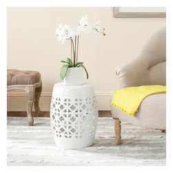Safavieh - Safavieh Paradise Tranquility White Ceramic Garden Stool - Accent your garden, patio, or any indoor room with this paradise tranquility white ceramic garden stool.