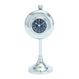 Woodland Imports - Vintage Telephone Style Silver Chrome Finish Table Clock Accent Home Decor 27853 - Nickel plated table clock with black background and roman numerals on sturdy round base table top home decor