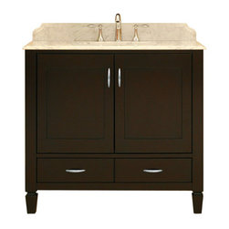 """Sunny Wood - Sunny Wood PT3621D Merlot / Ash Veneers Portraits 36"""" Wood Vanity - 36"""" Wood Vanity Cabinet from the Portraits CollectionThe Portraits collection from Sunny Wood features unique styling is both clean and classy.  Inset door panels and tapered feet give this collection its style.  Sunny Wood has taken select ash solids and veneers and paired it with a beautiful and durable Merlot finish.  The Portraits collection also features dual mount drawer slides and brushed steel hardware to complete the appearance and add to the functionality.Product Details:Dimensions: 36""""W x 21""""D x 34""""HConstructed of Ash hardwoods2 Door, 2 Drawer DesignInset doors and drawer frontsFull face frame construction Beautiful Merlot finish on dramatic ash veneers Dual side mount drawer slides Brushed steel hardware completes the tailored appearance Solid spade feet with adjustable leveling pads Ample interior storageCrated and shipped assembledPortraits vanities: 30"""" (PT3021D), 36"""" (this model), 48"""" (PT4821D)"""