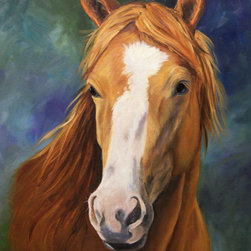 Oil Paintings by Cheri - Horse Art Print, Blaze Face, Canvas Giclee Print - 22x30 Canvas Giclee Print