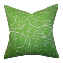 "The Pillow Collection - Eames Floral Pillow Green 18"" x 18"" - This richly colored floral throw pillow lends an earthy look to your interiors. The lovely green hue brings a refreshing twist to your sofa, bed or seat. Showcasing a unique pattern, you can easily pull together a well-polished decor style with this 18"" pillow. Made of 100% cushy cotton material and constructed in the US. Hidden zipper closure for easy cover removal.  Knife edge finish on all four sides.  Reversible pillow with the same fabric on the back side.  Spot cleaning suggested."