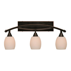 "Toltec - Toltec 173-BC-615 Bow 3-Light Bath Bar Shown in Black Copper Finish - Toltec 173-BC-615 Bow 3-Light Bath Bar Shown in Black Copper Finish with 5"" White Linen Glass Bulb Off"