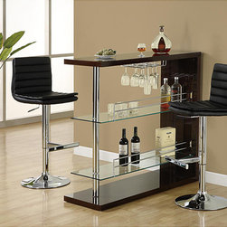 Monarch - Cappuccino and Chrome Metal 48-inch Bar Table - Materials: Wood, metal, glass Finish: Glossy cappuccino/chrome Two glass shelves