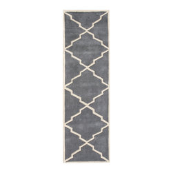 Alliyah Rugs - Blueish Grey & Beige Contemporary Rug, 2x8 - Alliyah Handmade New Zealand Blended Wool Rug with Blueish Grey & Beige color. Antique Washed.