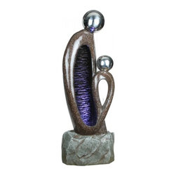 YOSEMITE HOME DECOR - Two Headed Fountain - Two-Headed Fountain This unique fountain as a high polished brown finish with silver flecks. The water cascades down the rippled purple interior of the larger figure. The base of the fountain is a natural light gray sandstone.