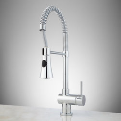 Flyte Kitchen Faucet with Spring Spout - Sporting a flared head and a push-button control that adjusts water flow from stream to spray, the Flyte Kitchen Faucet lends a professional look to your sink.