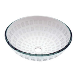 Renovators Supply - Vessel Sinks Clear Glass Green Tint Textured Round Vessel Sink - Glass Vessel Sinks: Textured Frosted Tempered glass sinks are five times stronger than glass, 1/2 inch thick, withstand up to 350 F degrees,  can resist moderate to high degrees of impact & are stain��_��__��_��__��_��__proof. Ready to install this package includes FREE 100% solid brass chrome-plated pop-up drain, FREE machined 100% solid brass chrome-plated mounting ring & silicone gasket. Measures 16 1/2 in. dia. x 6 in. deep x 1/2 in. thick.