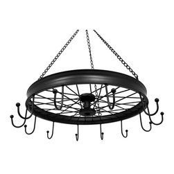 Zeckos - Black Metal Bicycle Wheel with Hooks Hanging Pots and Pans Holder/Hanger - With 12 hooks to hang your pots and pans, this hanging rack will help keep your kitchen organized while showing off your love of bicycles. Made from metal with a black satin finish, it hangs 24 inches from the top of the attached hook and chains, and the 'wheel' is 5 inches high and 20 inches in diameter (13 x 51 cm). It's great for hanging above the island or near your prep area to keep them close at hand, or just to show off your antique cookware for a unique display. It's great as a wedding or housewarming gift, and the finishing touch in any bicycle enthusiasts kitchen