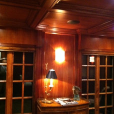 Mahogany bar with alder windows coffered ceiling to match