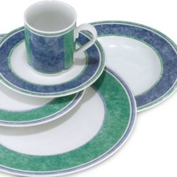 Villeroy & Boch - Costa 9-Inch Rim Soup Bowl - Sometimes color is the best design of all. Simply styled in beautiful shades of blue and green, this porcelain dinnerware is nevertheless striking. A great pattern to mix with Castell, Cordoba and Corsica--all part of the Switch III collection.